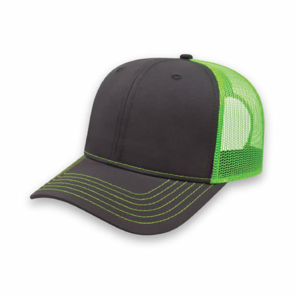 Charcoal/Neon Green Modified Flat Bill with Mesh Back Cap